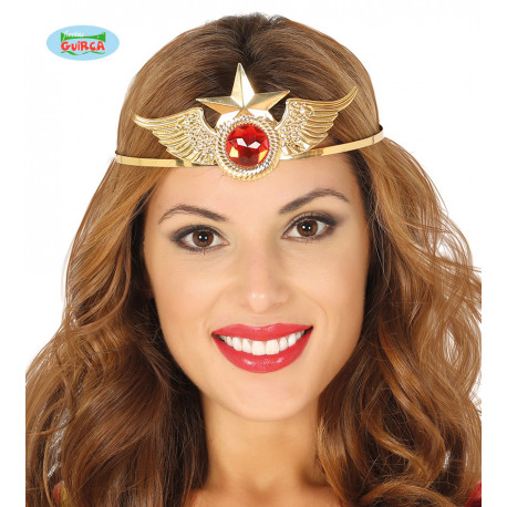 DIADEMA METAL.ORO SUPER HEROÍNA WONDER WOMAN